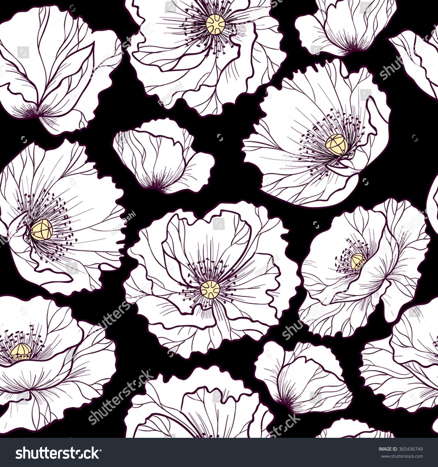 White Poppy Flowers On Black Background Stock Vector 365436749