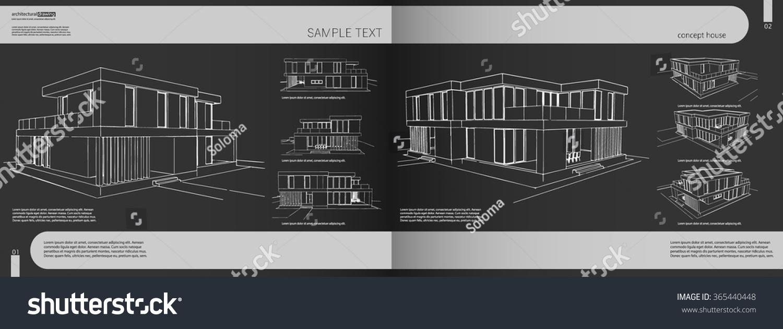 Layout Portfolio Architect Background Cover Heading Stock Vector