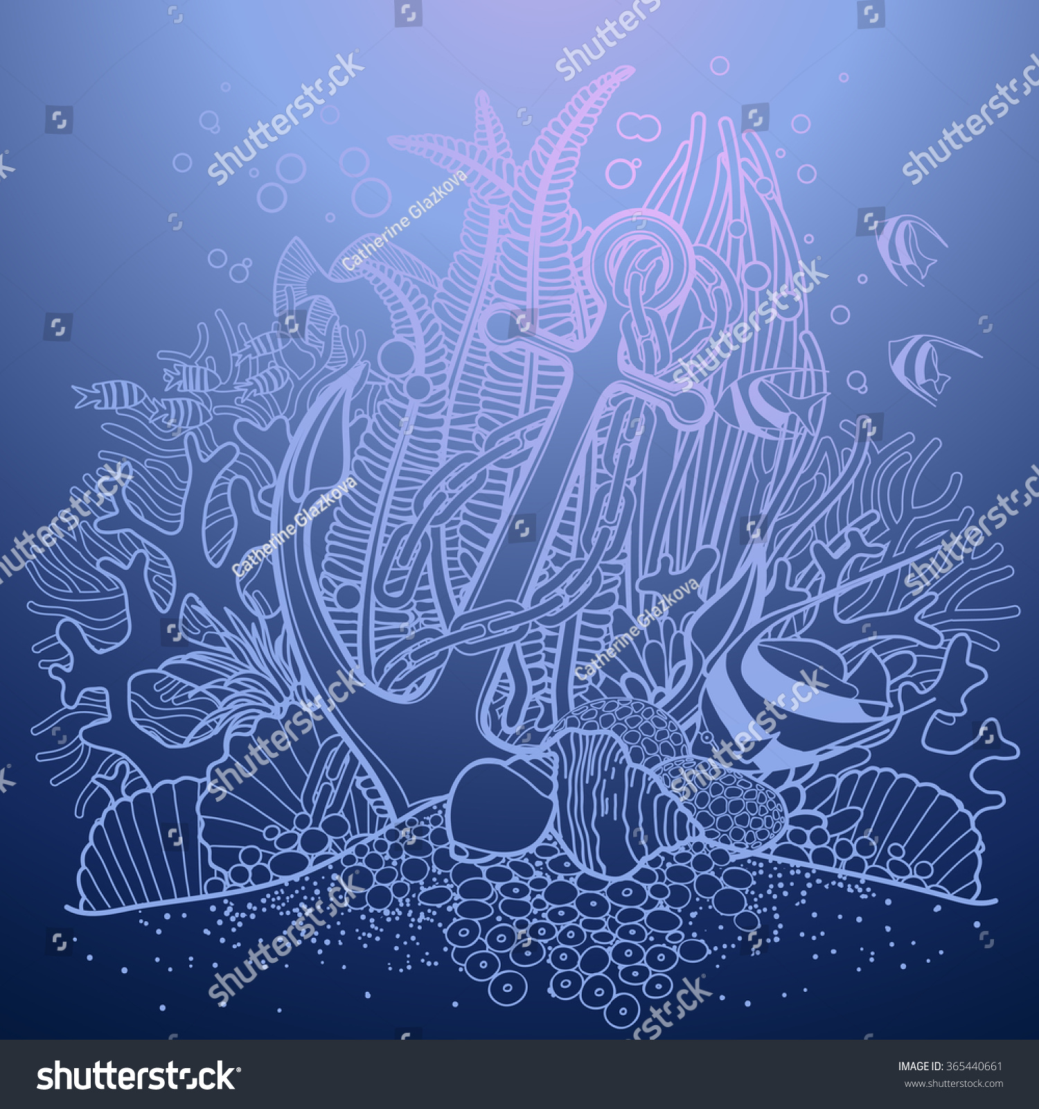anchor coral reef drawn line art stock vector 365440661 shutterstock