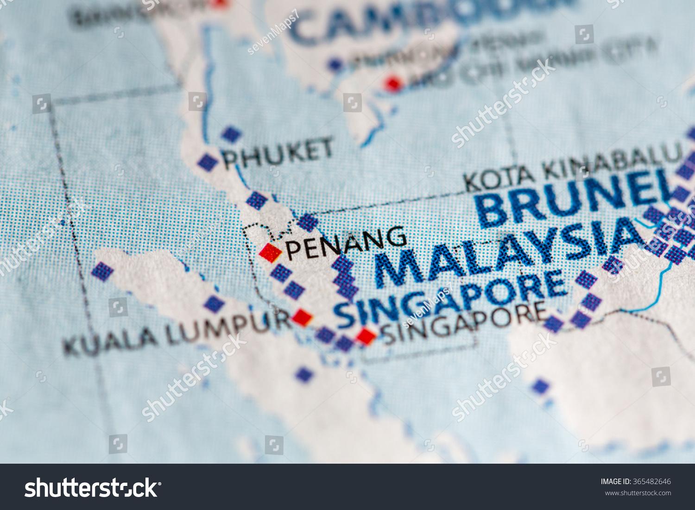 Closeup Penang Malaysia On Political Map Stock Photo Edit Now