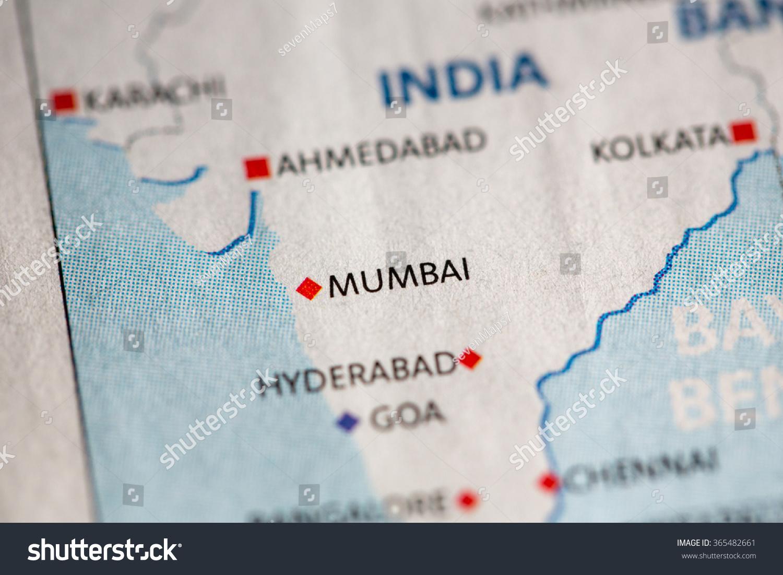Mumbai On Map Of Asia.Closeup Mumbai India On Political Map Stock Photo Edit Now