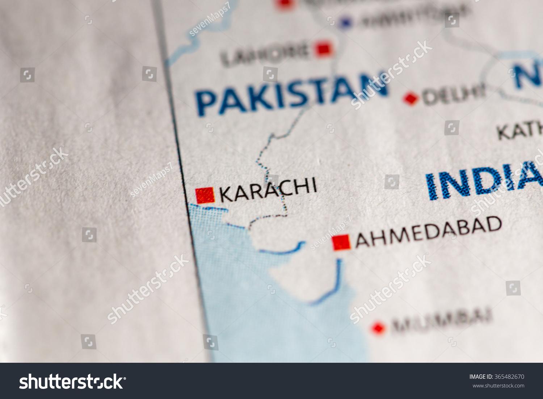 Map Of Asia Karachi.Closeup Of Karachi Pakistan On A Stock Photo 365482670 Avopix Com