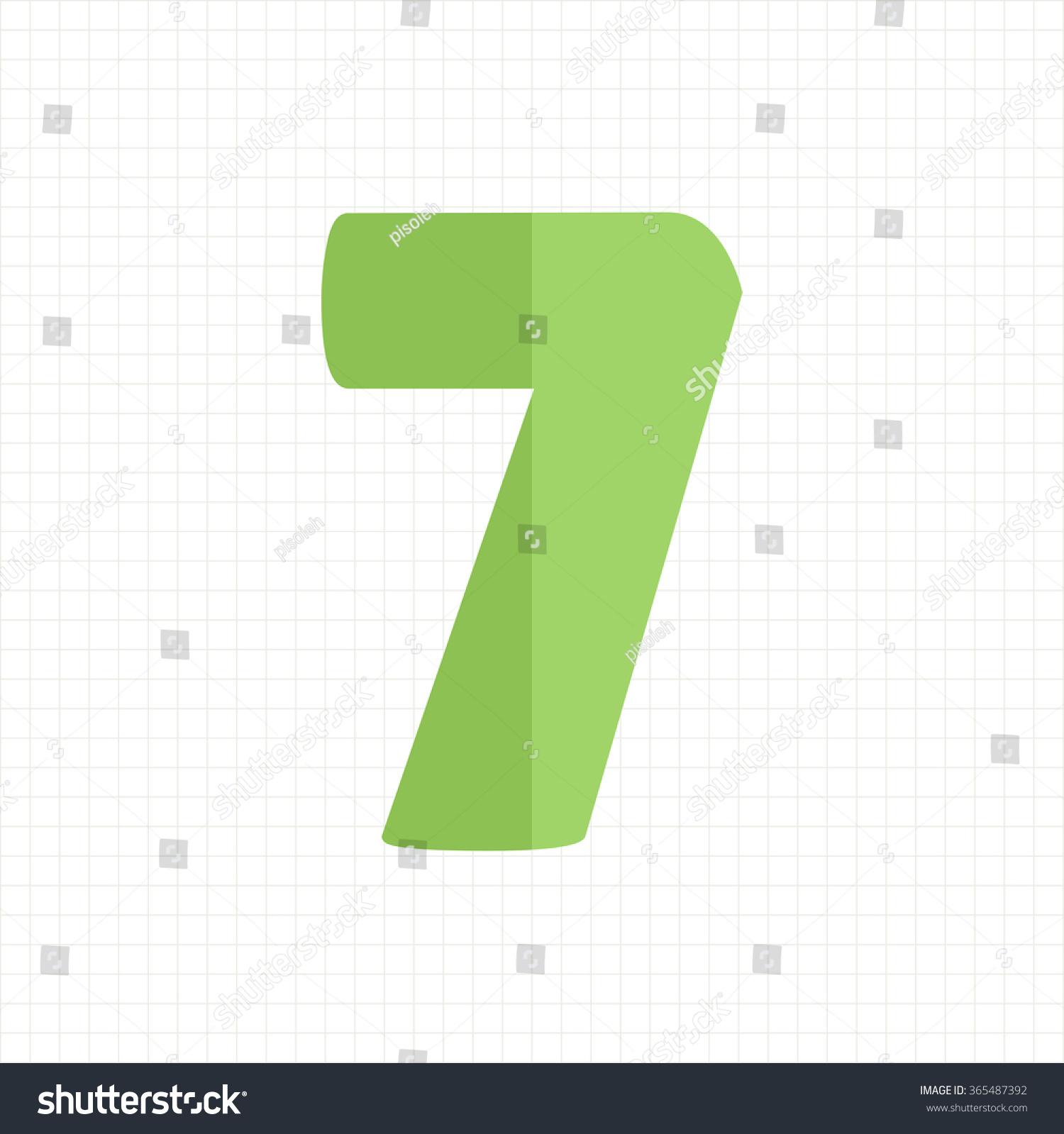 Green Color Number Seven Stock Vector 365487392 - Shutterstock