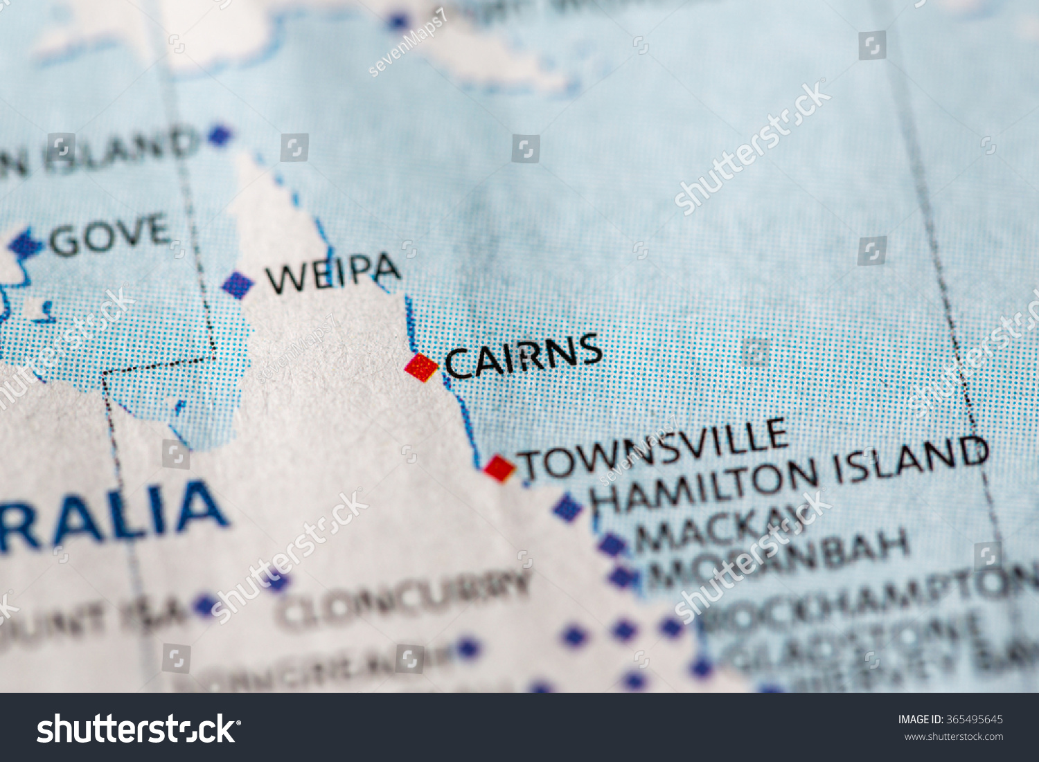 Closeup Cairns On Political Map Australia Stock Photo Edit Now