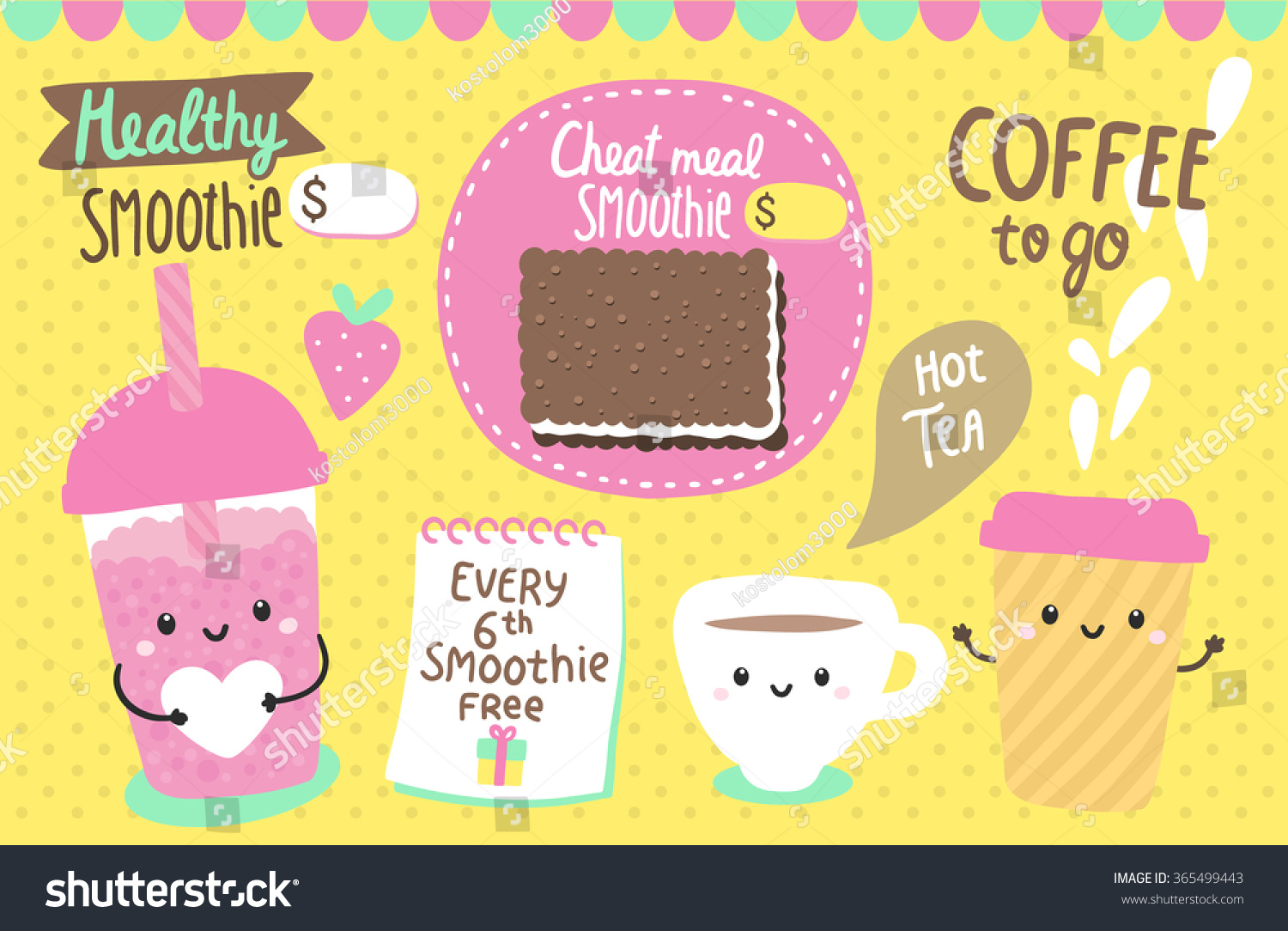 cute characters smoothie tea mug coffee stock vector  cute characters smoothie tea mug coffee cup adorable flyer design funny