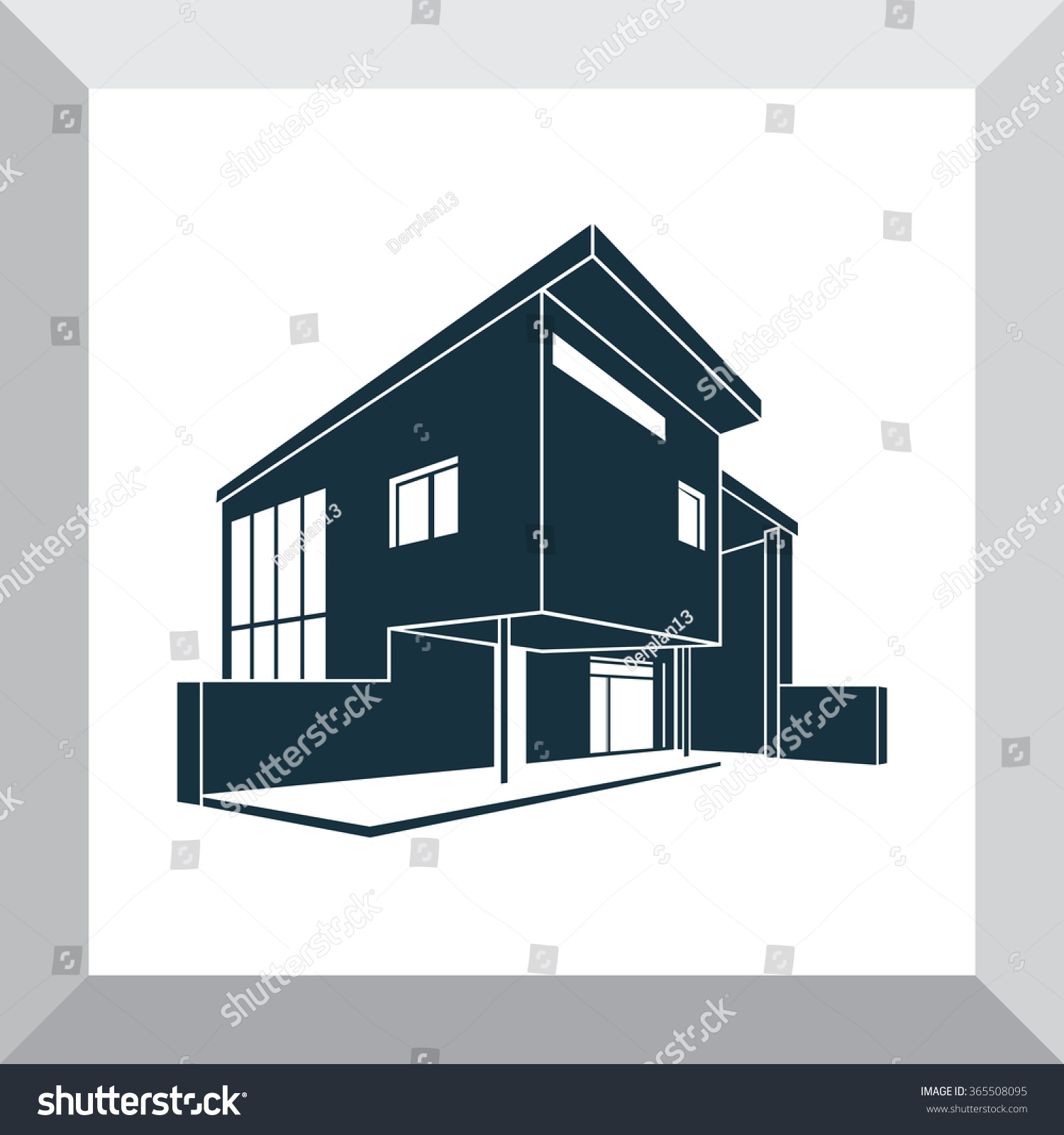 Vector image of a modern and trendy design of the private country house silhouette and