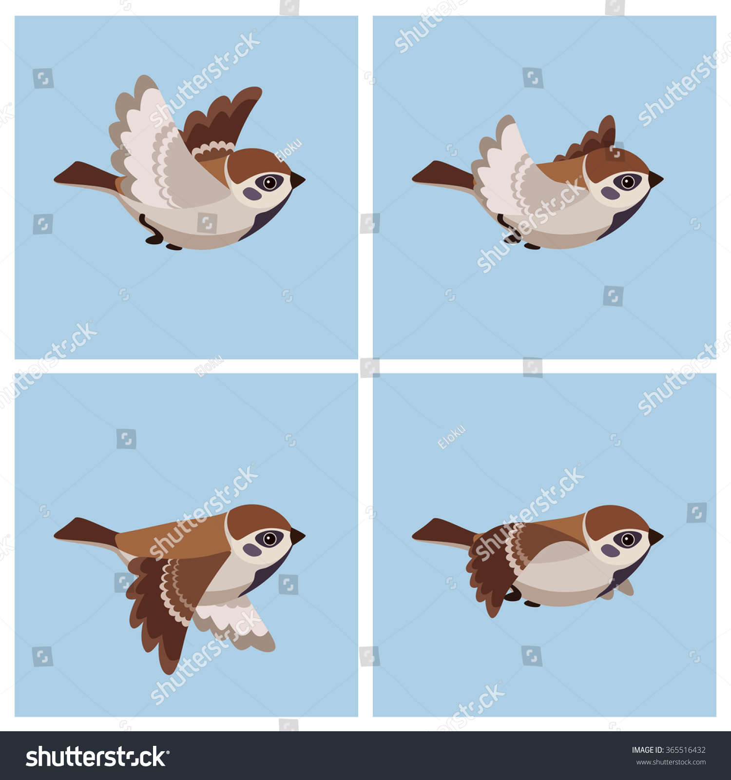 Flying sparrow animated - photo#4