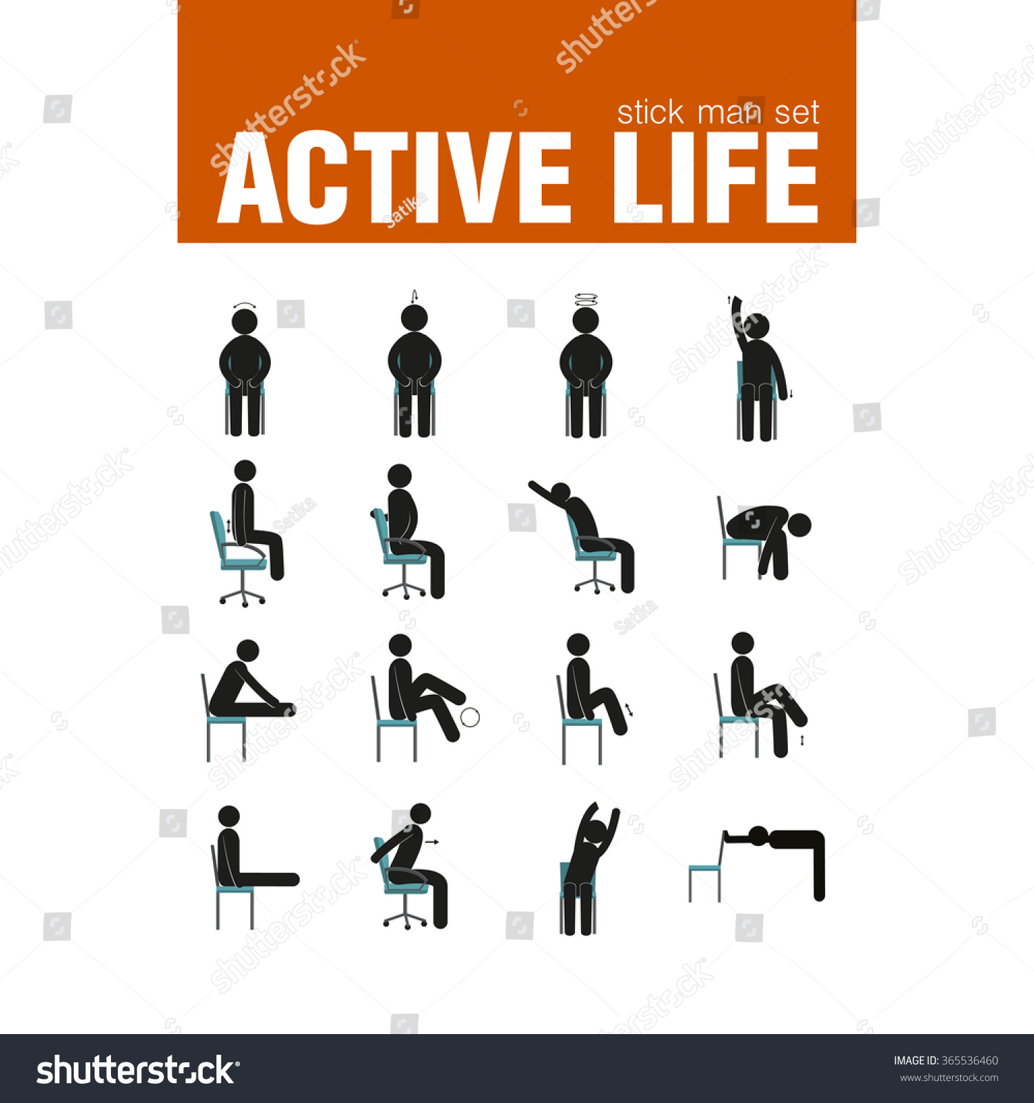 Vector Active Warmup Exercises Chair Stock Vector