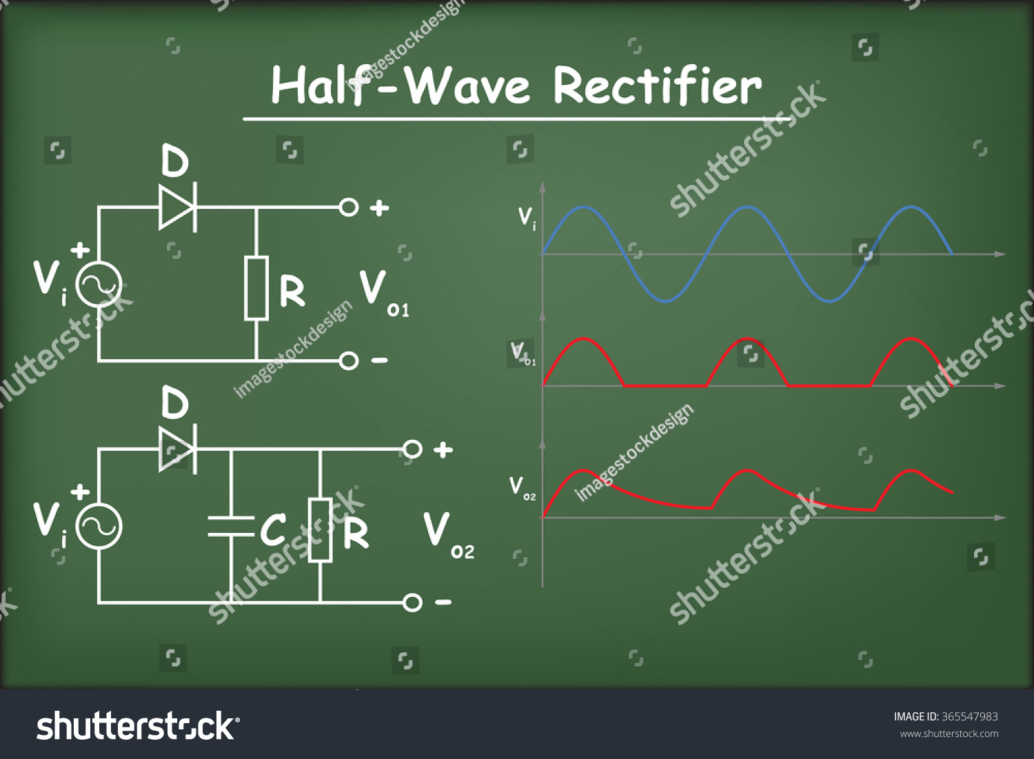 Half Wave Rectifier Circuits Capacitor Diagram Stock Vector Royalty Circuit With And On Chalkboard