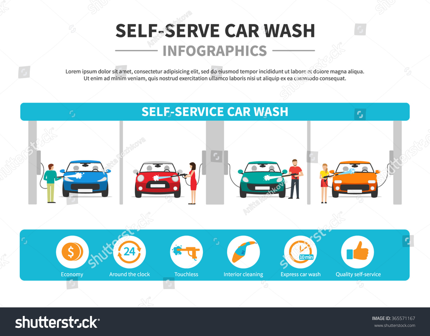 selfservice car wash infographics flat style stock vector 365571167 shutterstock. Black Bedroom Furniture Sets. Home Design Ideas