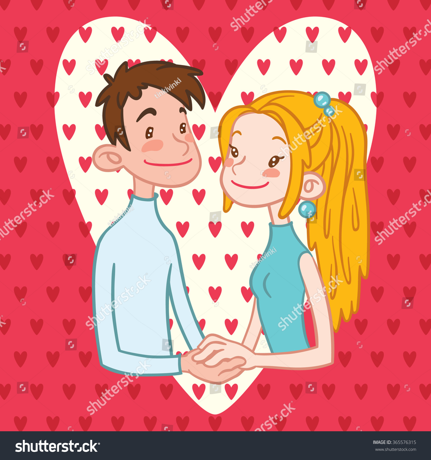 Romantic couple holding hands with hearts on a background valentines day card vector illustration