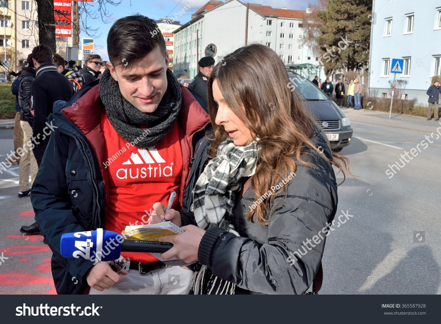 Graz Austria January 17 2016 Interview Stock Photo ...