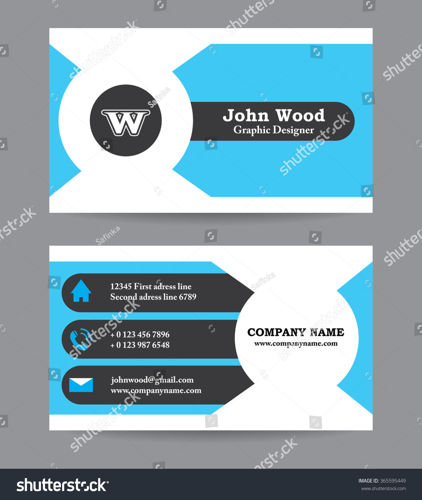 Modern Business Card Template Flat Design Stock Vector 365595449 ...