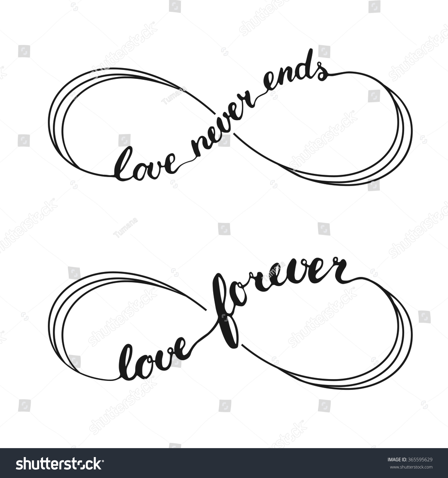 Infinity love symbol tattoo. Hand written calligraphy lettering text ...