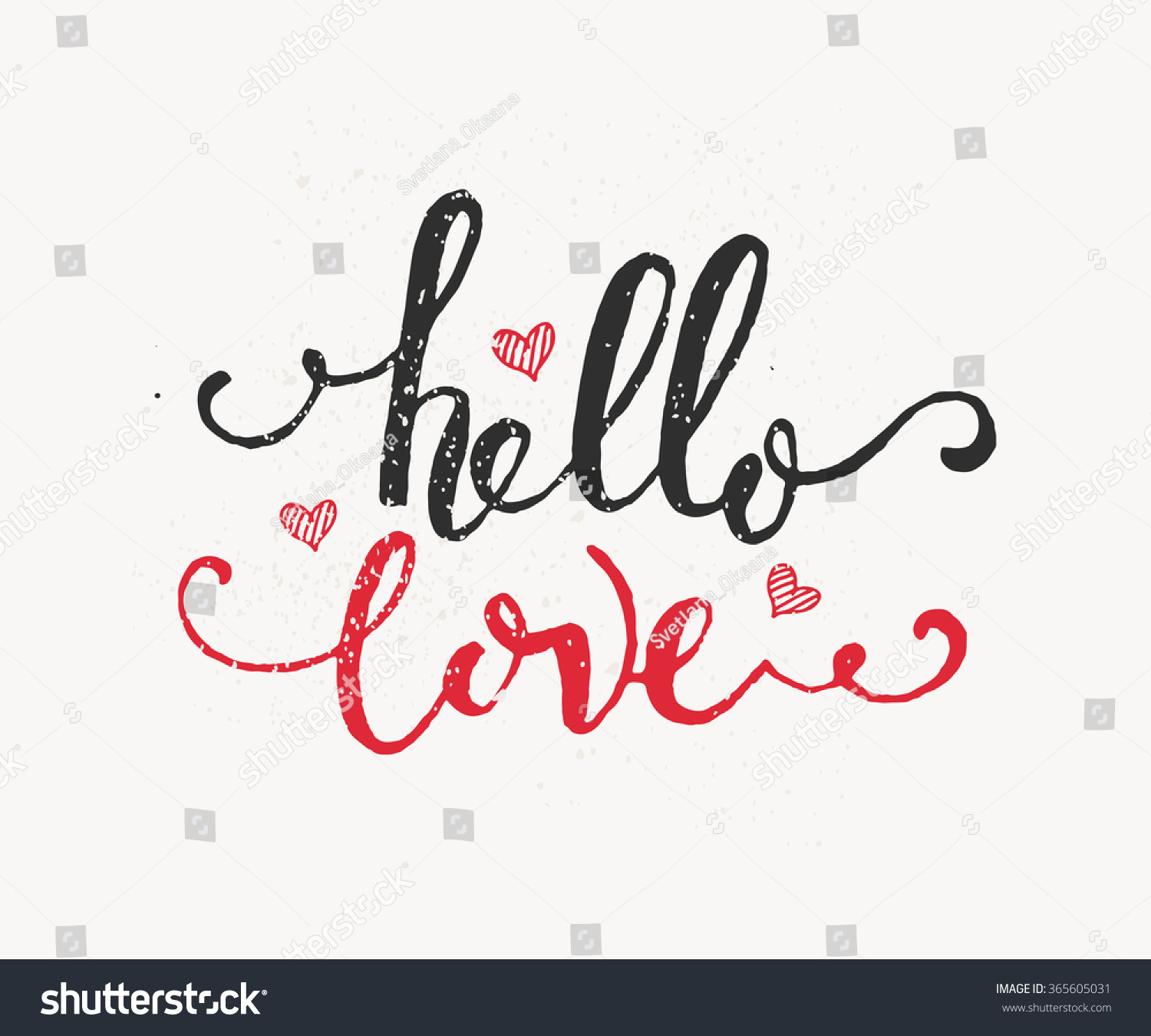 Attractive Hand Sketched Hello Love Text Happy Stock Vector 365605031   Shutterstock