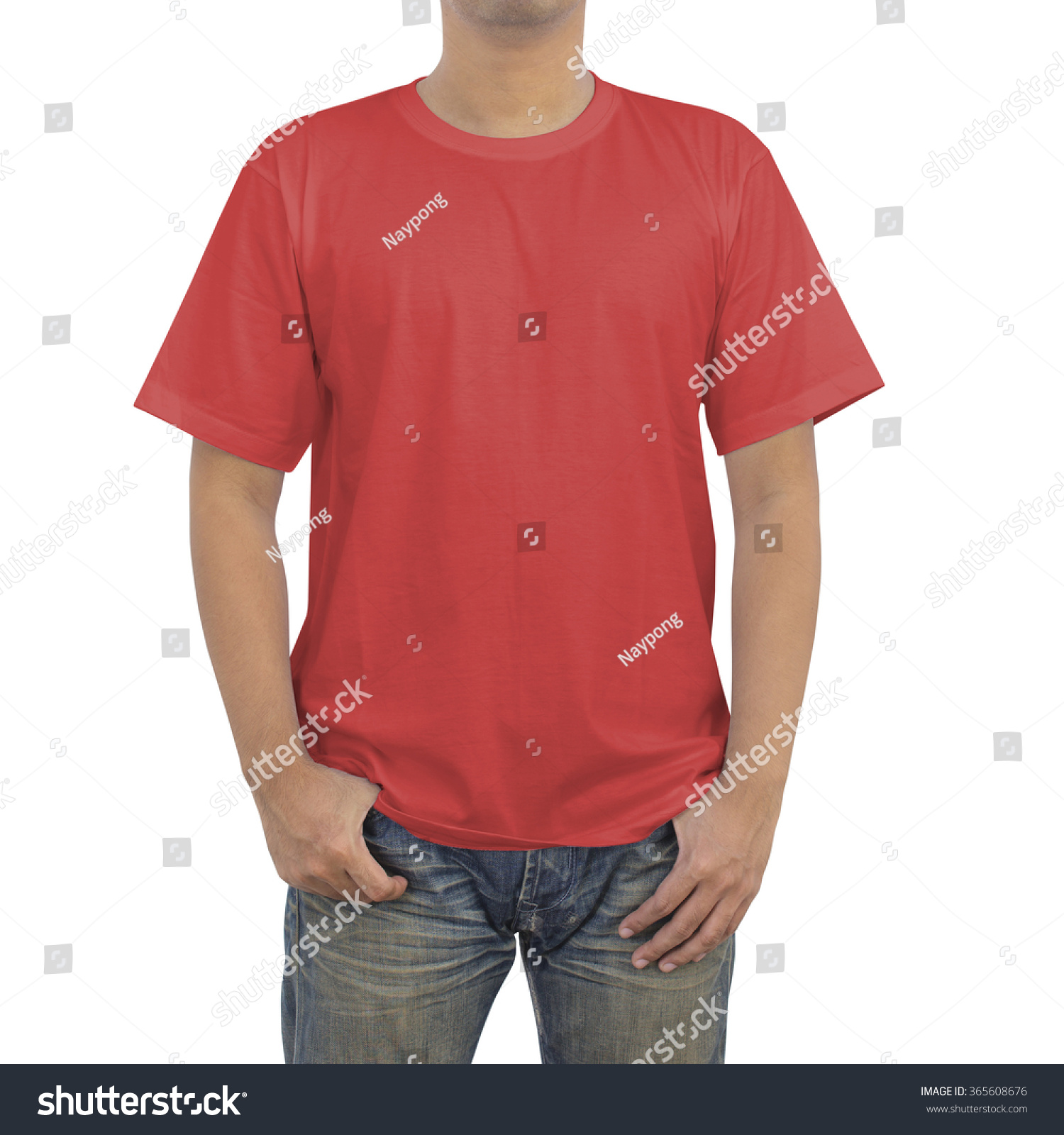 Men blue jeans red tshirt on stock photo 365608676 for Red and blue t shirt