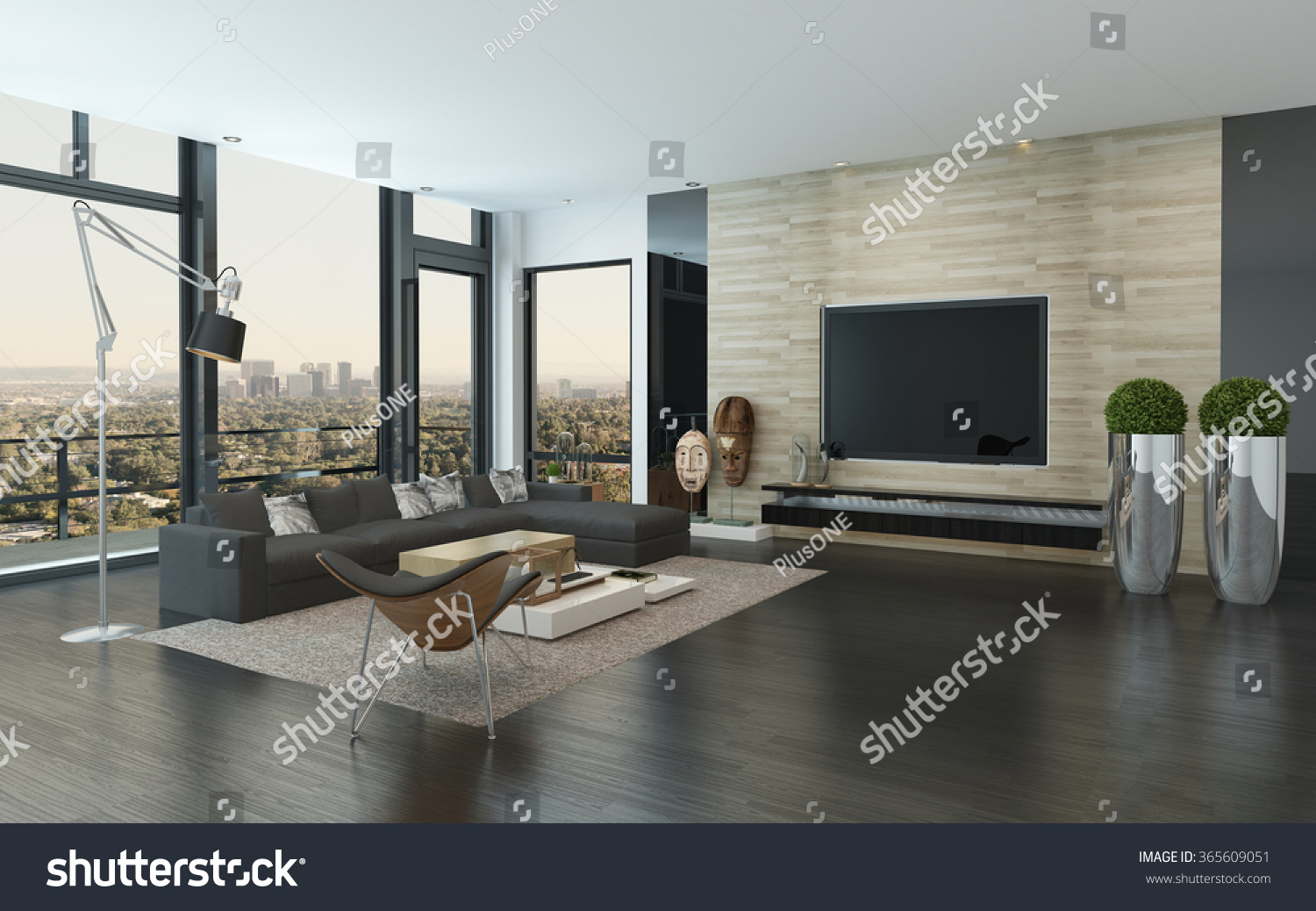 Spacious Modern Living Room Dark Grey Stock Illustration 365609051 ...
