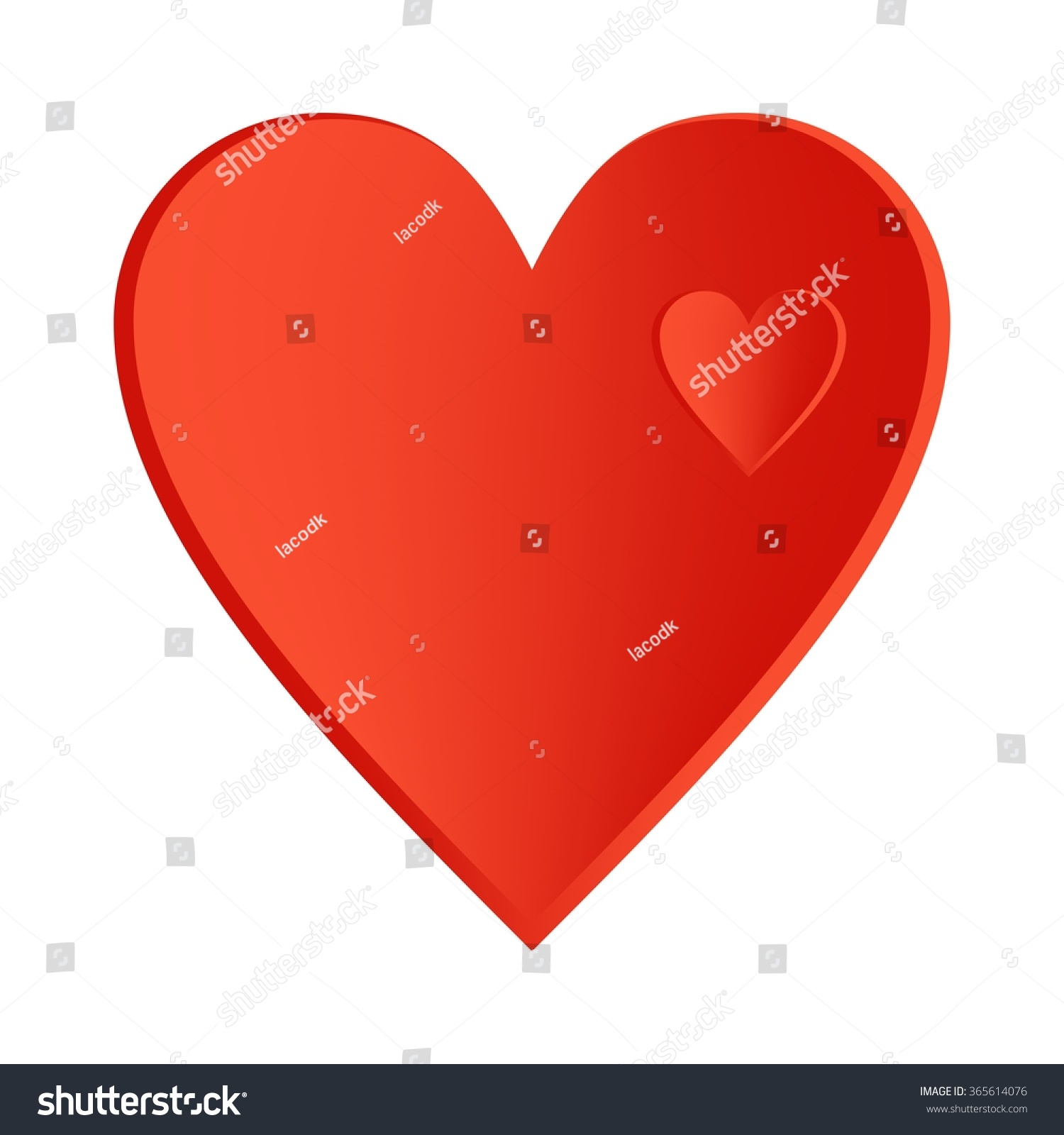 Big Red Heart Small Hearts Right Stock Vector Royalty Free
