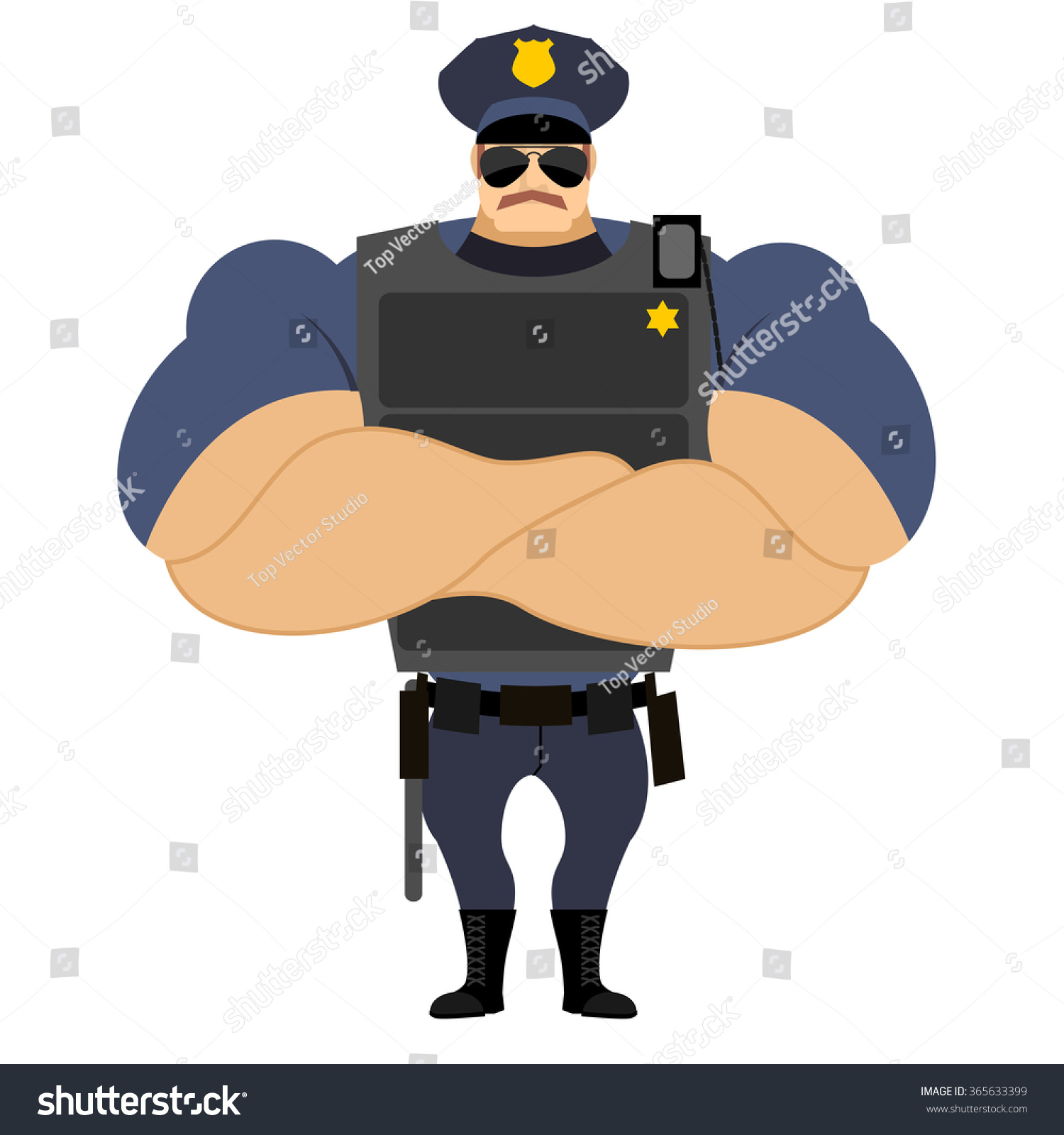 police flak vest powerful policeman cop stock vector 365633399