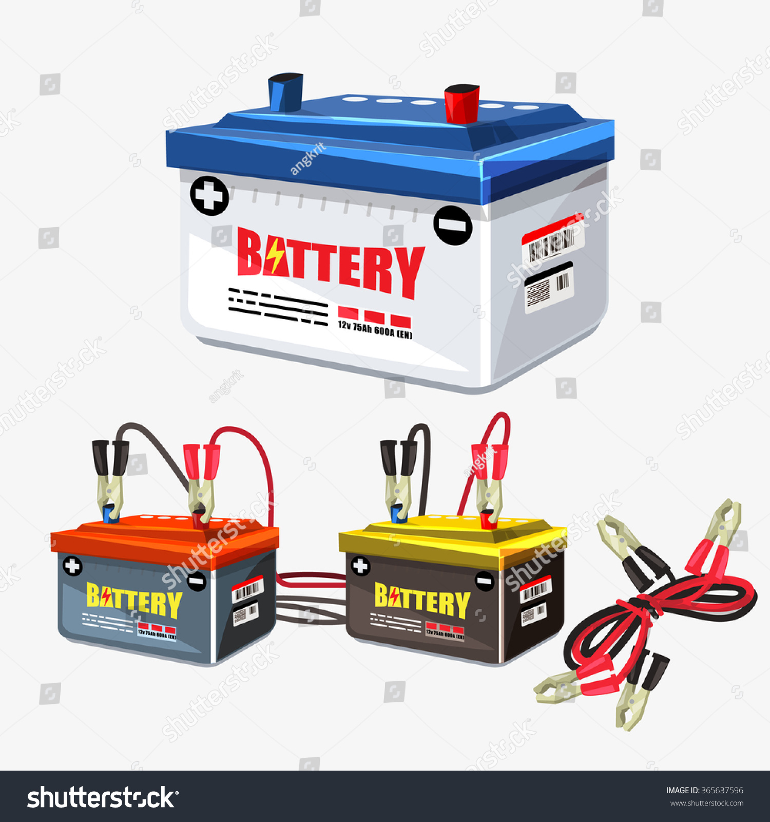 car battery set jumper cable jumper stock vector 365637596 shutterstock. Black Bedroom Furniture Sets. Home Design Ideas