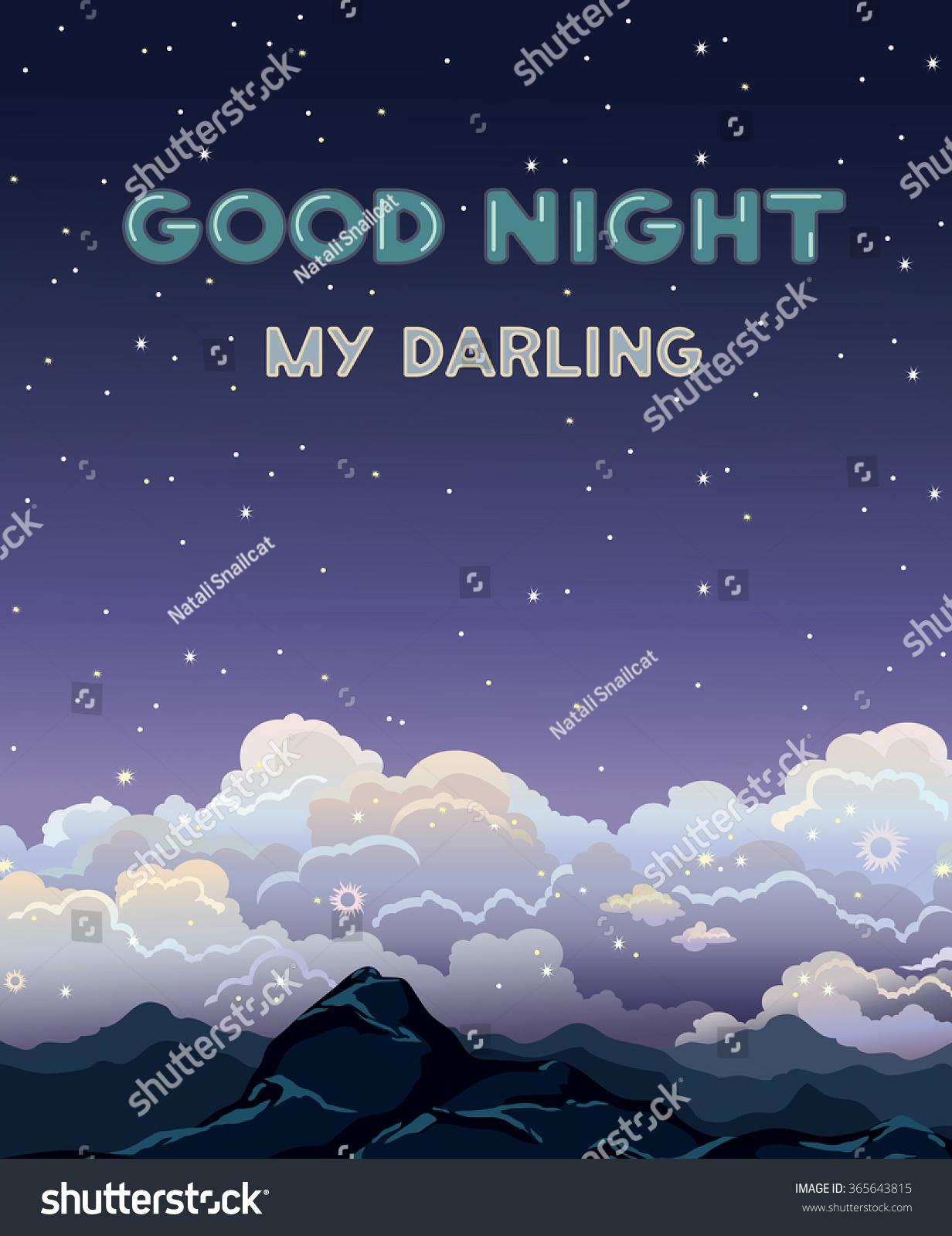 Greeting Vector Card Text Good Night Stock Vector Royalty Free