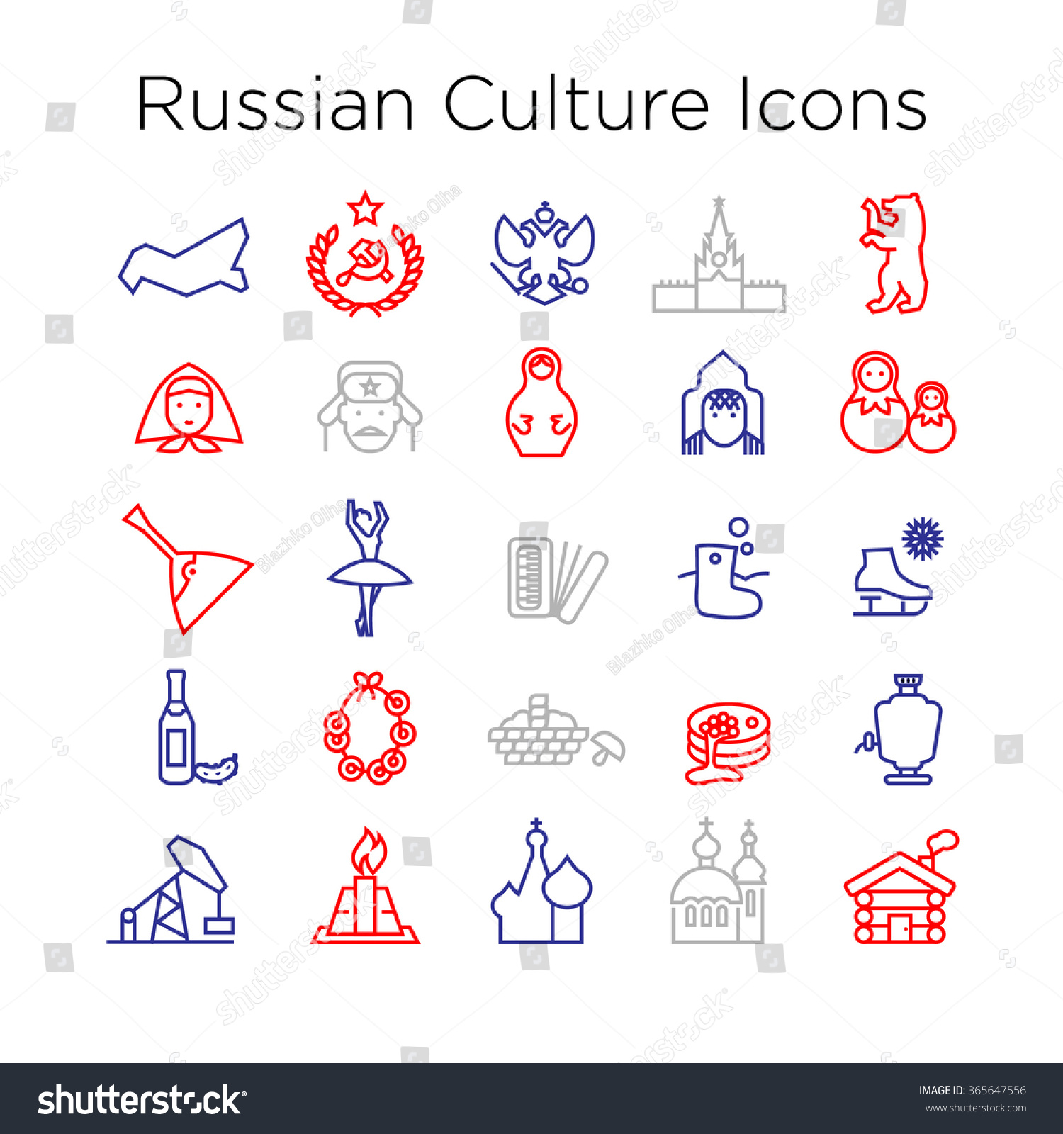 russian culture icons culture signs russia stock vector  russian culture icons culture signs of russia traditions of russian federation russian life