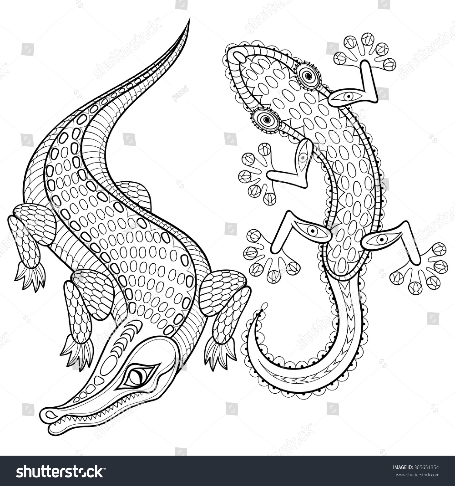 hand drawn zentangled crocodile lizard stock vector