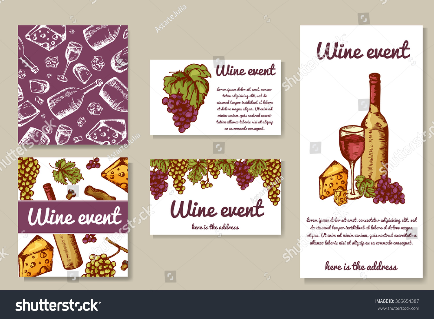 Design wine cards invitation on wine stock vector 365654387 invitation on wine event can be used for menu stopboris Images