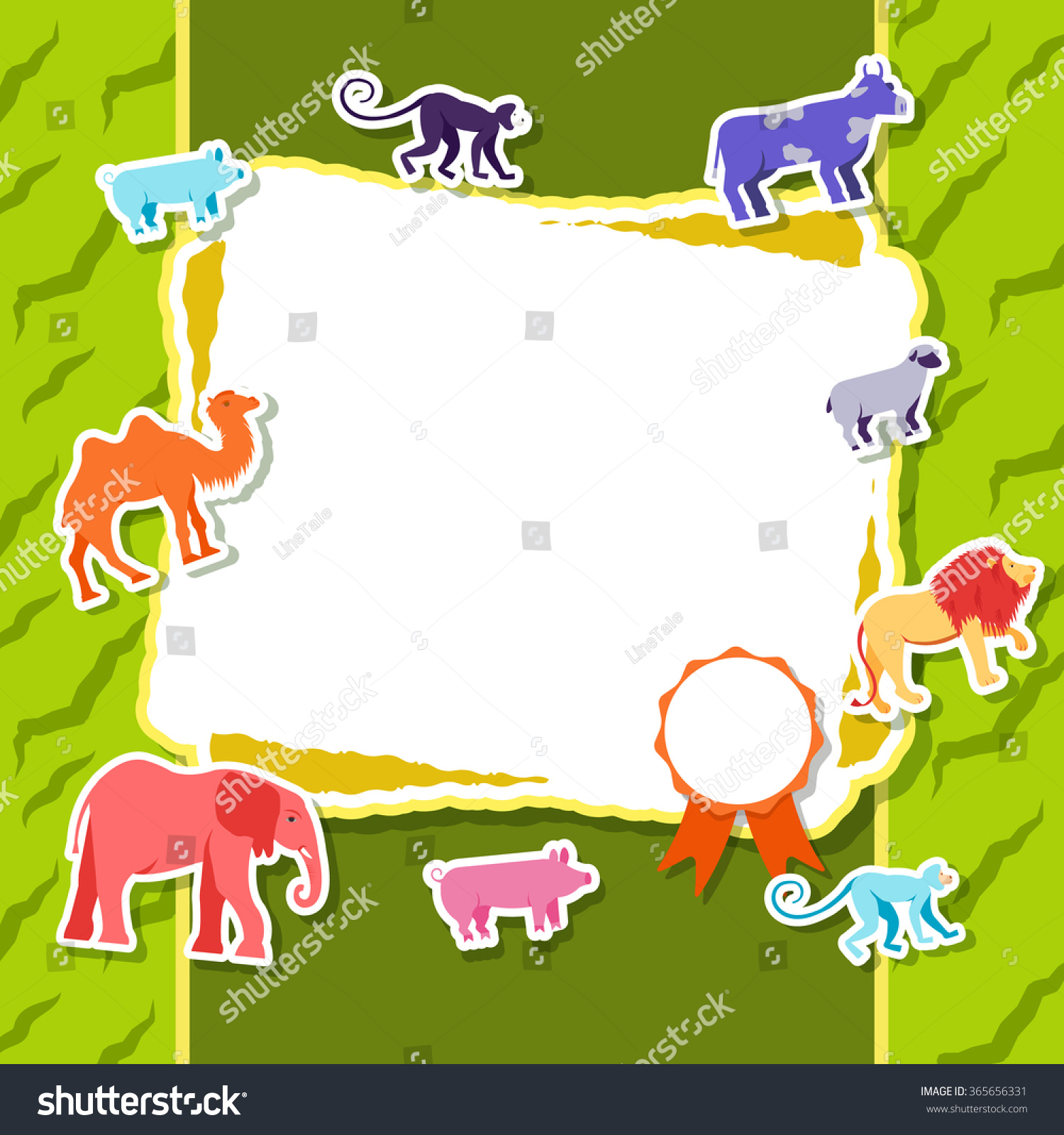 Zoo poster design - Zoo Animals Elements On Green Background Poster In Sticker Style Design Illustration Template Card Concept