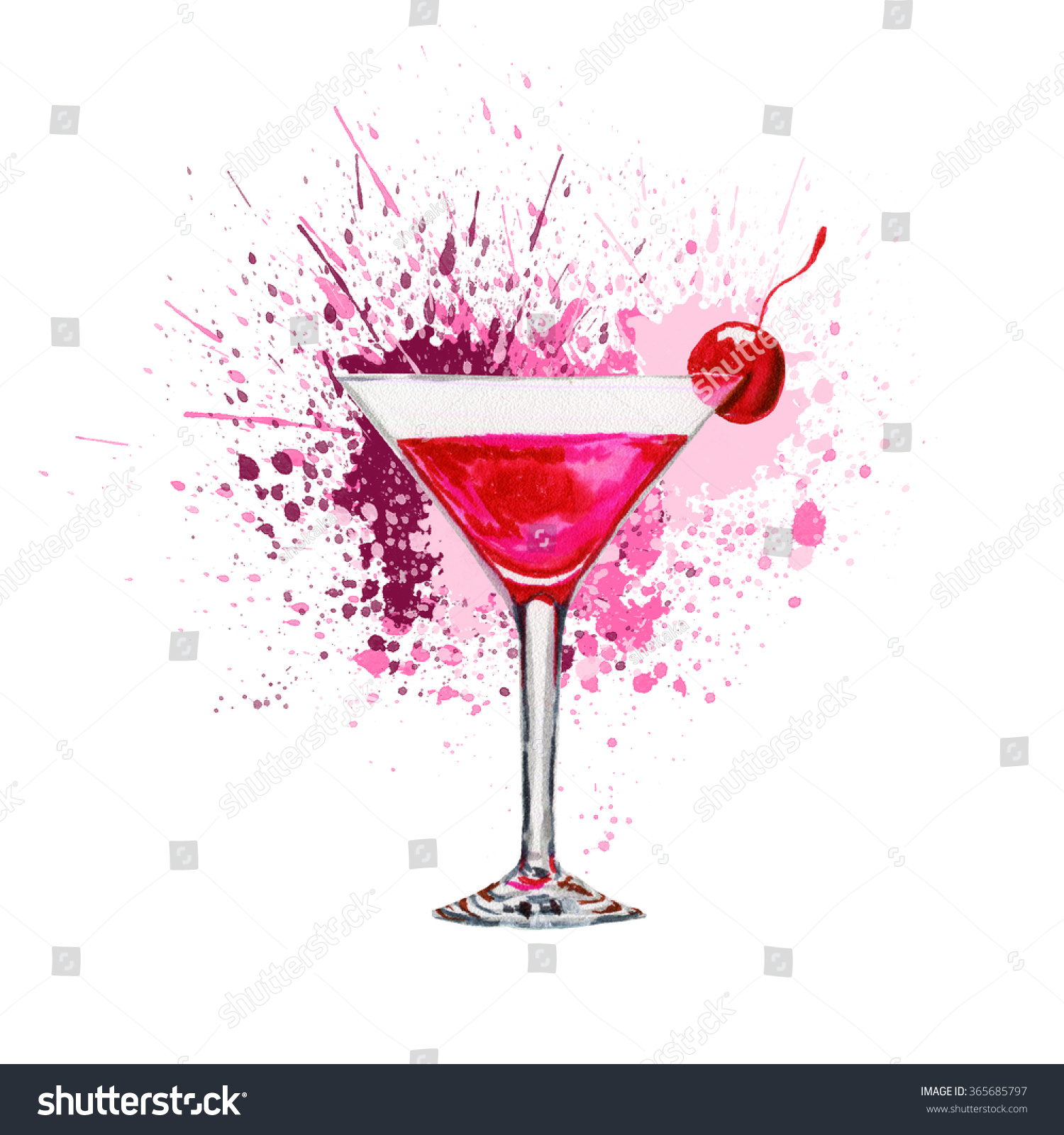 pink drink wallpapers: Pink Cocktail Hand Drawn Splash Watercolor Stock