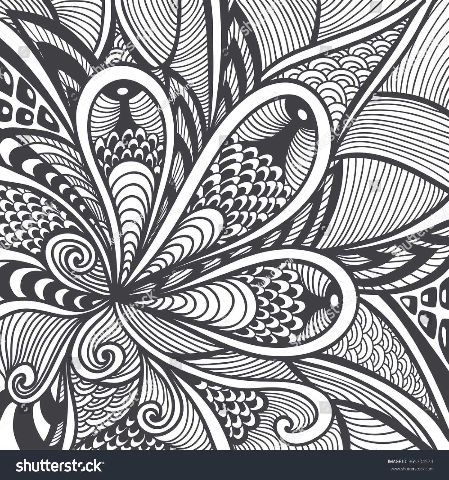 abstract pattern or texture in zen tangle zen doodle style black on white for