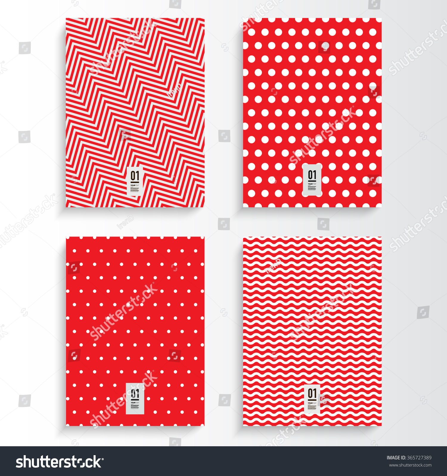 Red Book Cover Design ~ Abstract red and white flyer or book cover design set with