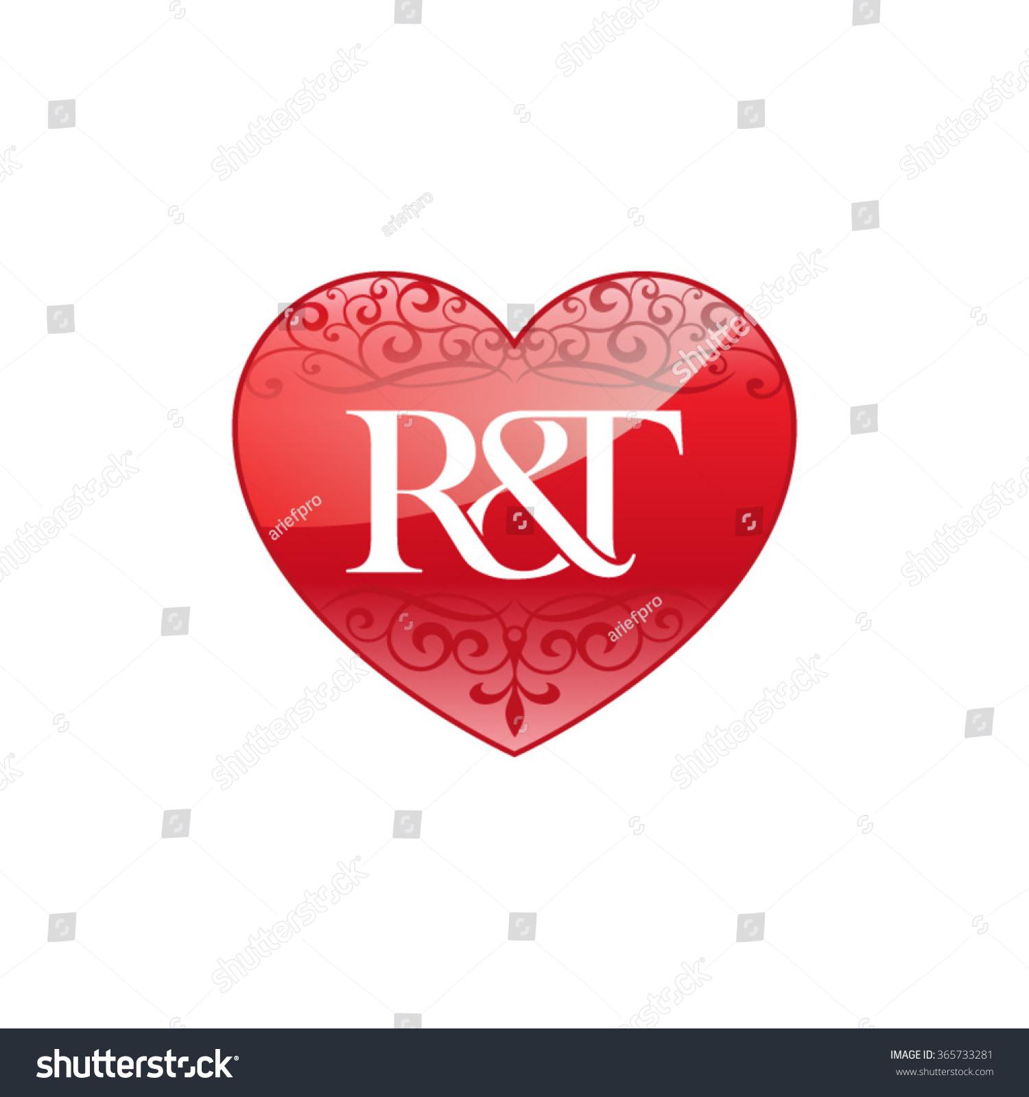 Rt Initial Letter Logo Ornament Heart Stock Vector ...