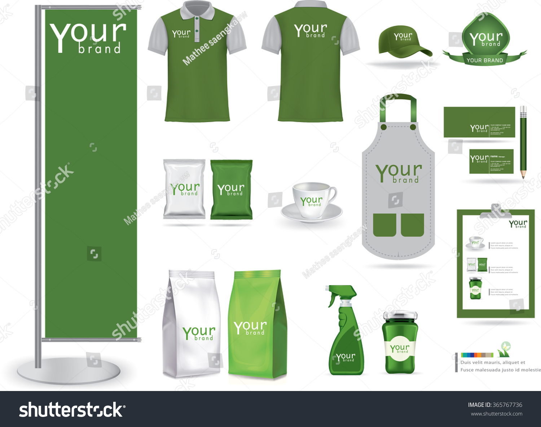 vector menu package tshirt cap uniform stock vector 365767736