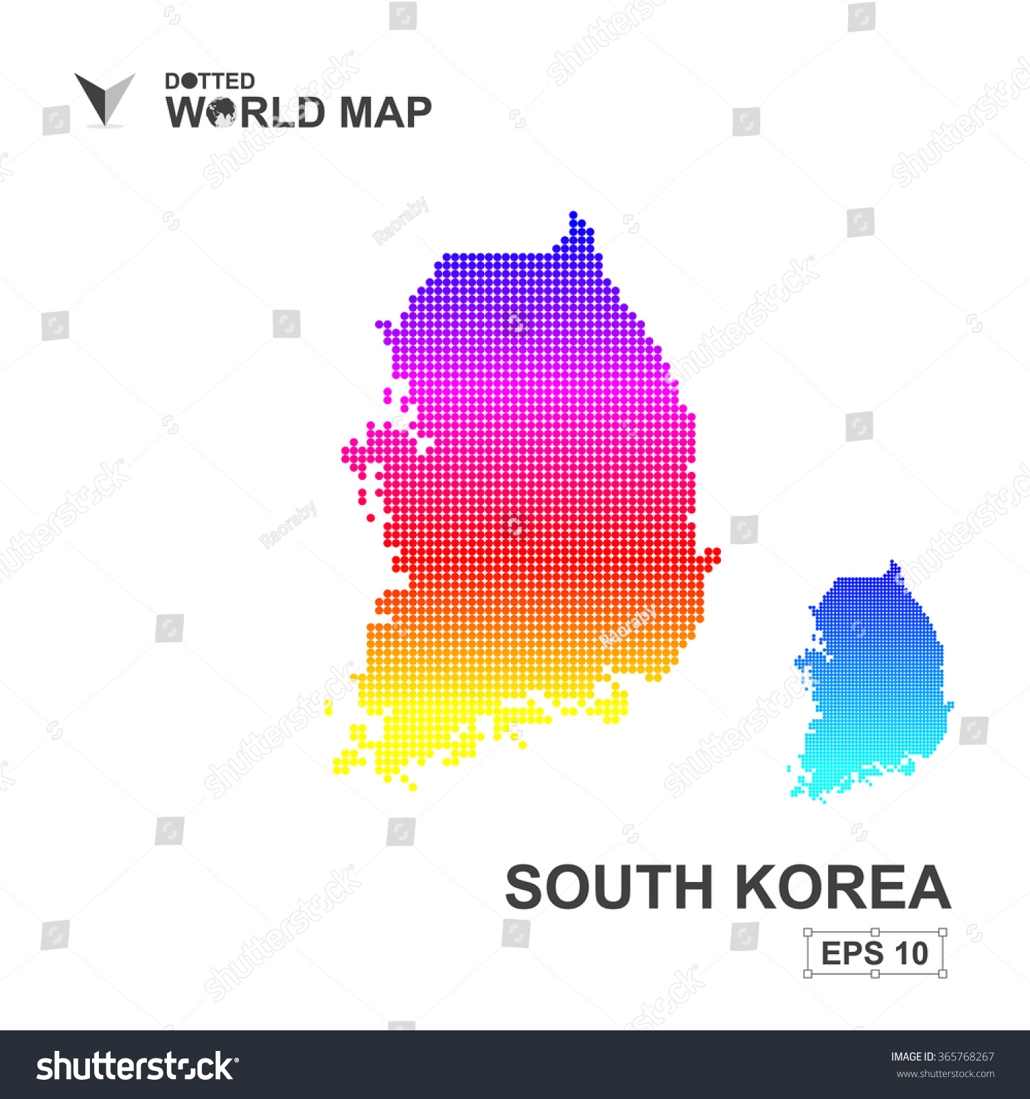 Map South Korea Dotted Vectorabstract Computer Stock Vector