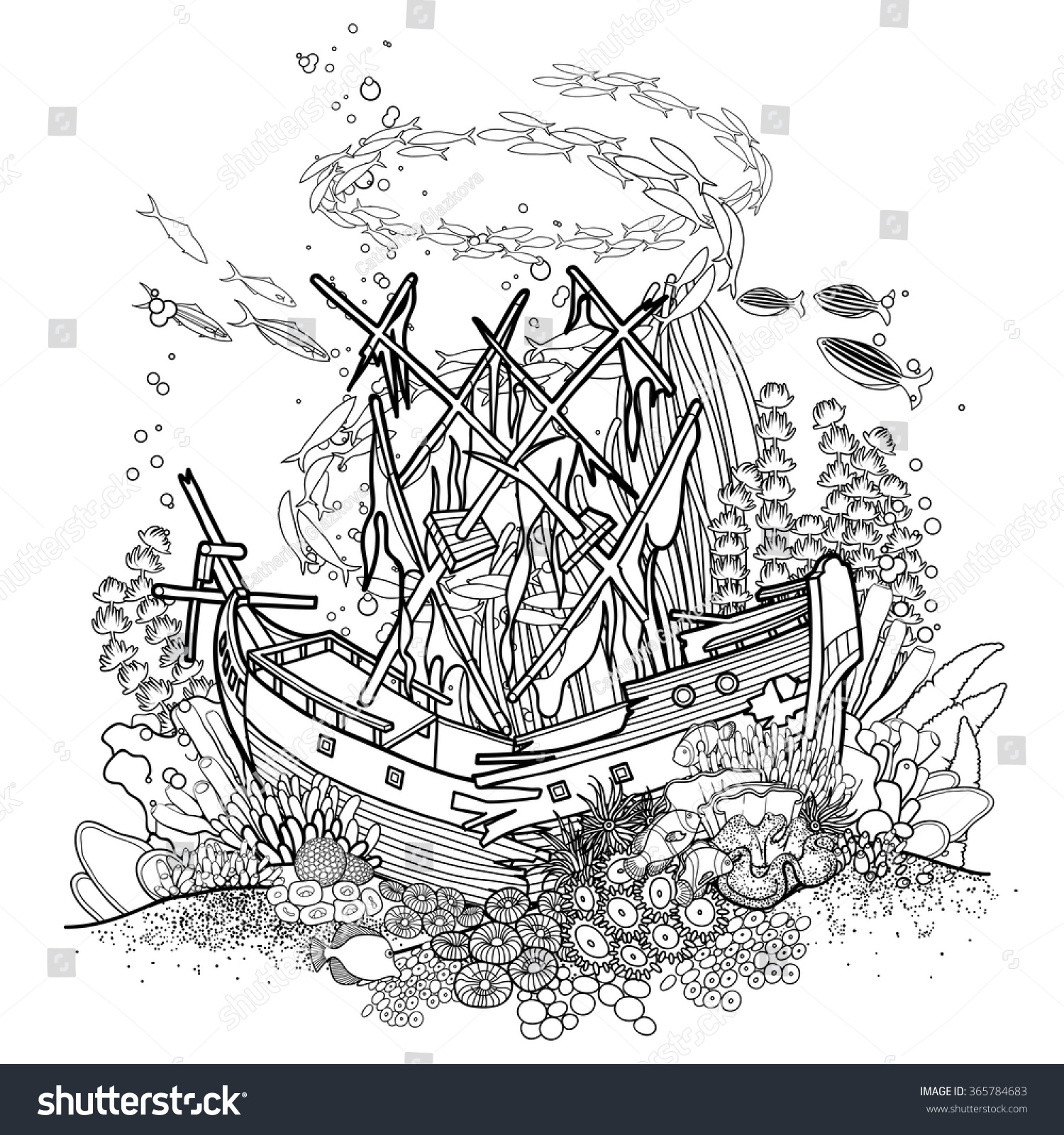 ancient sunken ship coral reef drawn stock vector 365784683
