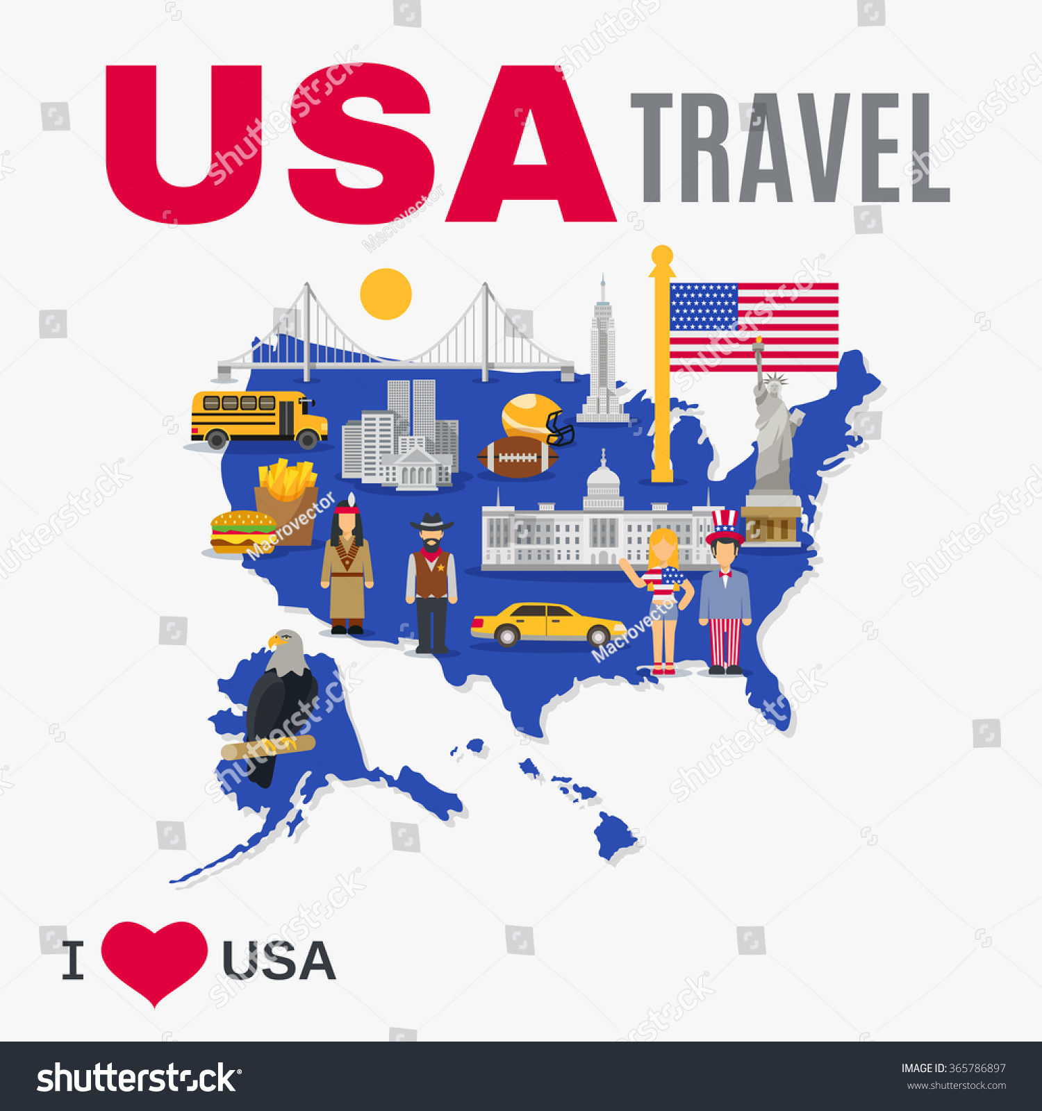 World Travel Agency Usa Top Tourists Stock Vector - Usa map and landmarks