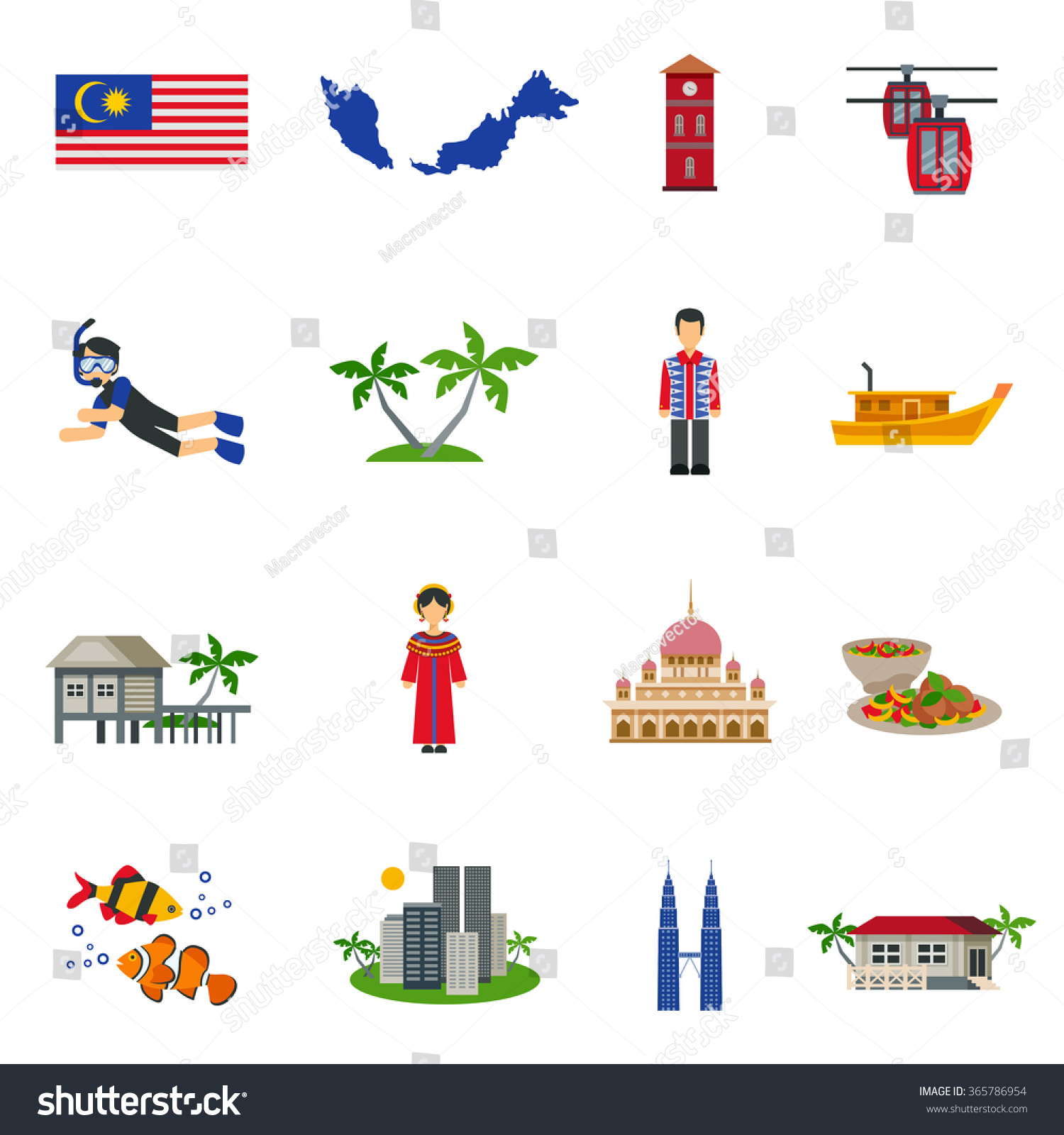 Royalty Free Malaysian Culture Symbols And Tourist 365786954 Stock