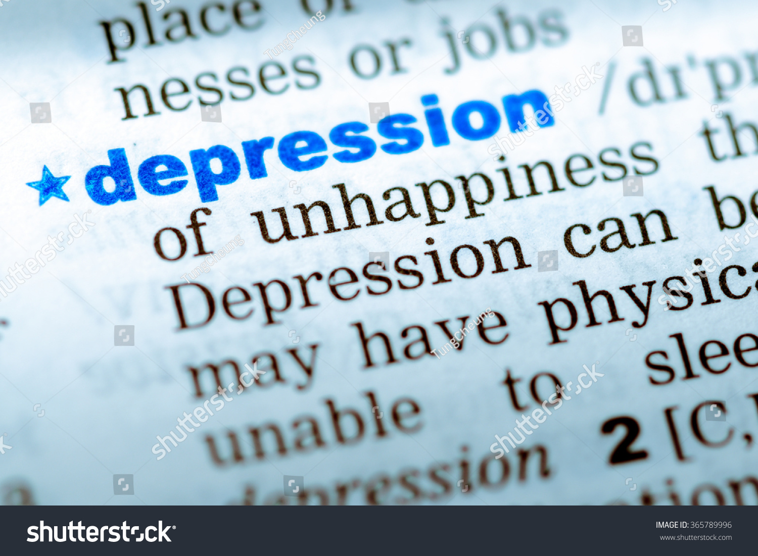 closeup word english dictionary depression definition stock photo