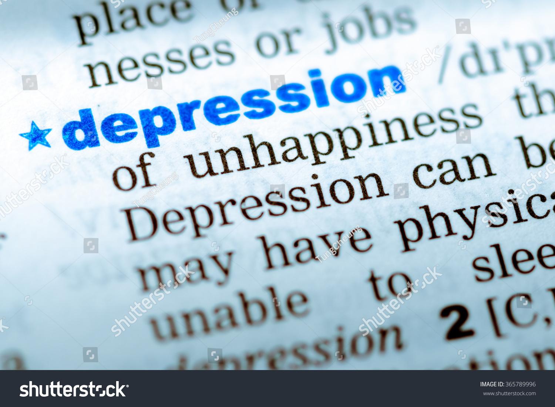 closeup word english dictionary depression definition stock photo
