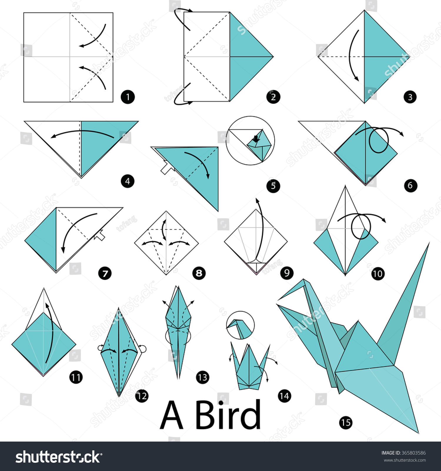 Step by step instructions how make stock vector 365803586 for How to make origami goose