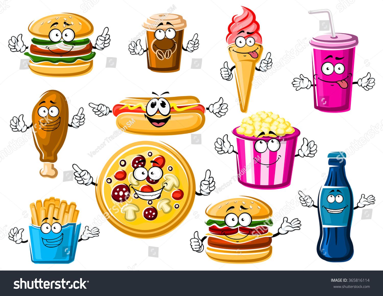 cartoon food happy french pizza menu characters fast drink hamburger soda vector cheeseburger pepperoni fries coffee cream popcorn dog shutterstock