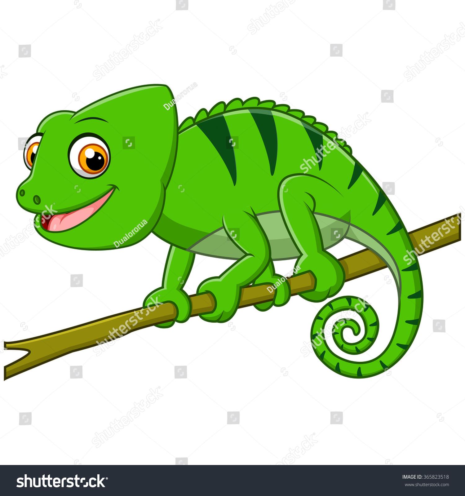 Cartoon Lizard On Branch Stock Illustration 365823518 ...