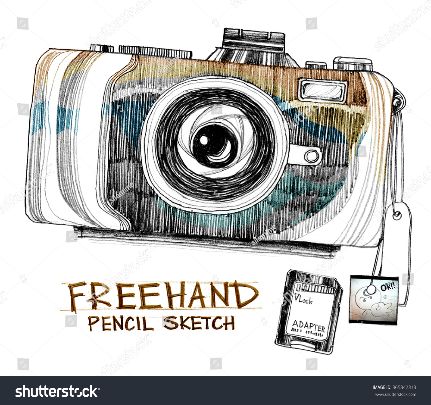 Photo frame camera pencil freehand sketch design on paper art line isolated background