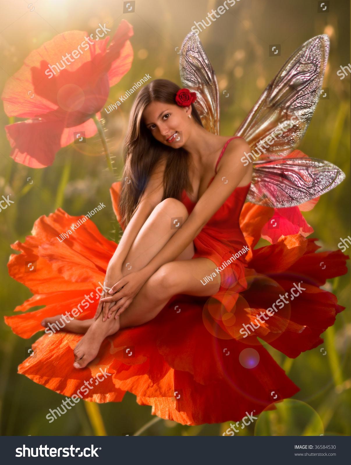Brunette Girl Elf Sitting On Flower Stock Photo Edit Now 36584530