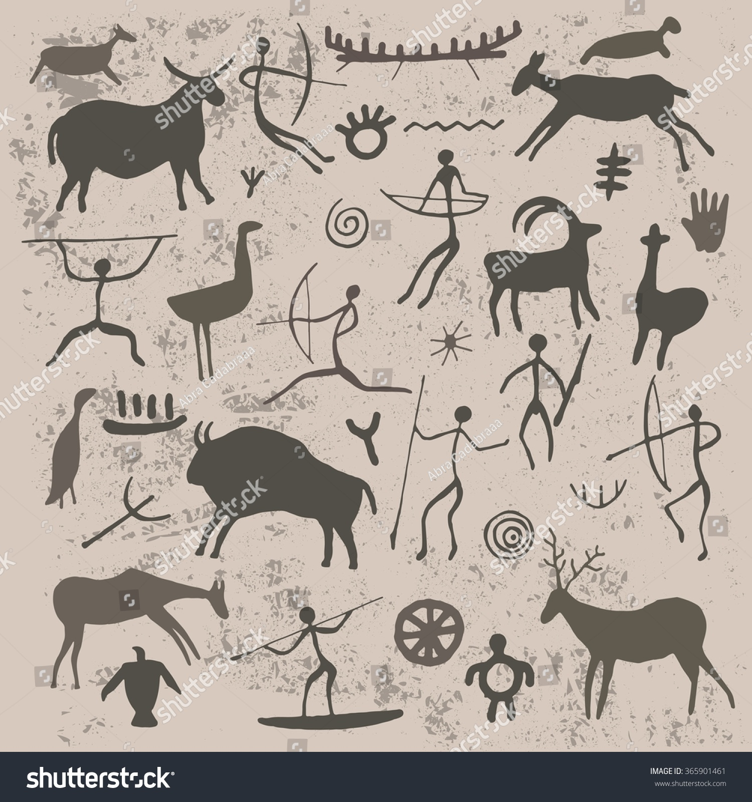Rock paintings cave drawings hunter animals stock vector 365901461 rock paintings cave drawings of hunter animals and symbols biocorpaavc Image collections