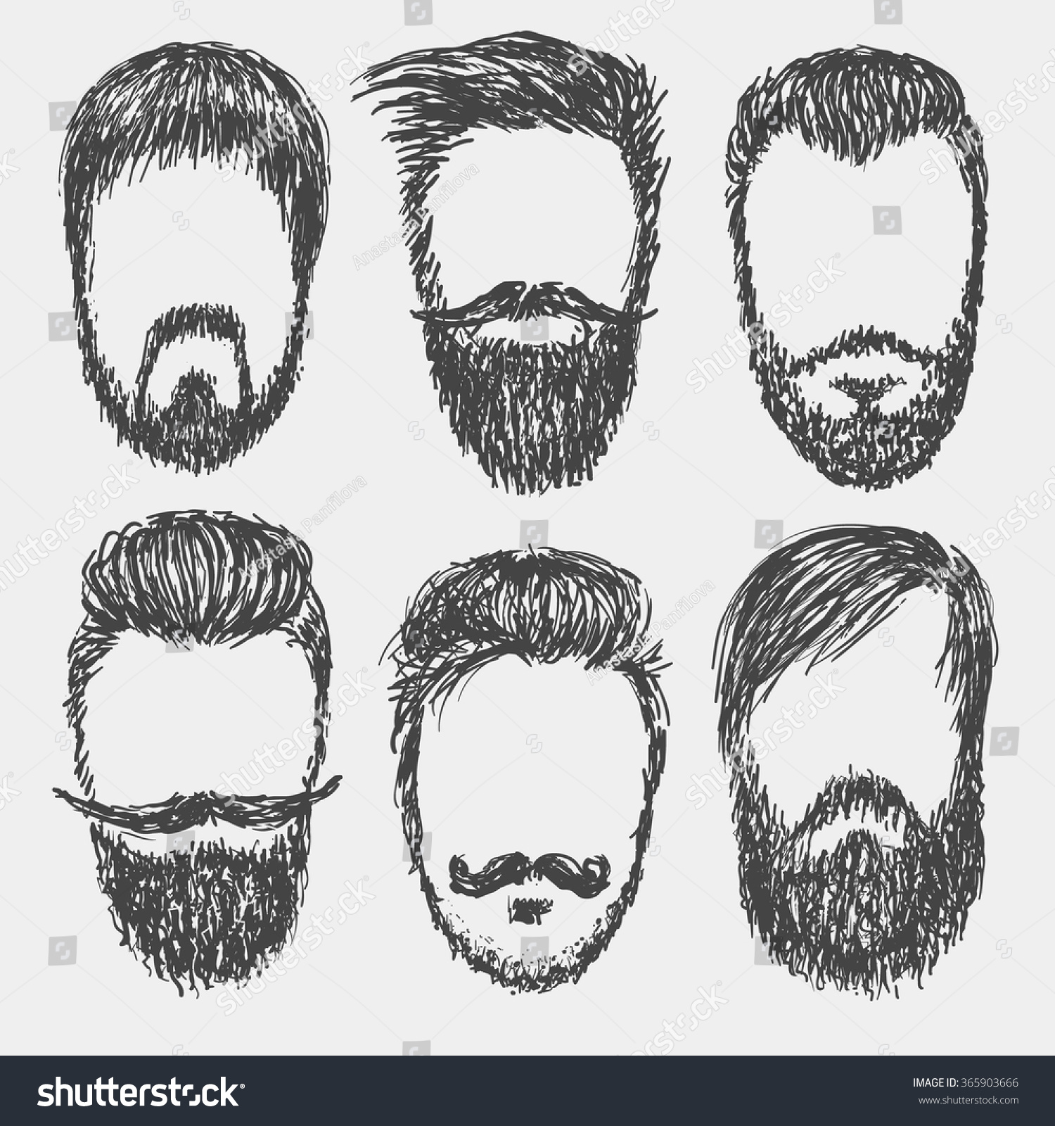 how to draw a mustache and beard