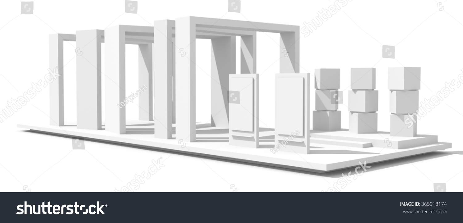 Exhibition Booth Blank : Vector white green blank indoor trade exhibition booth standard