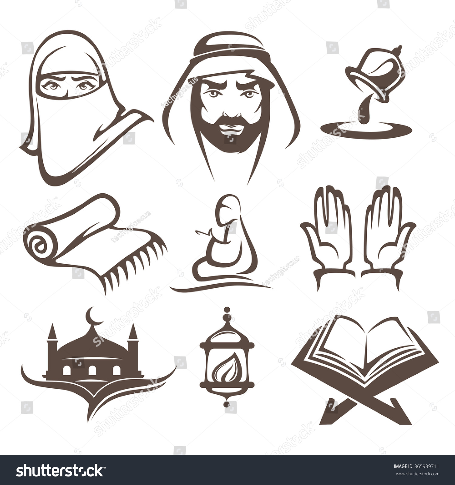Islam Icons Symbols And Logo, Vector Collection - 365939711 ...