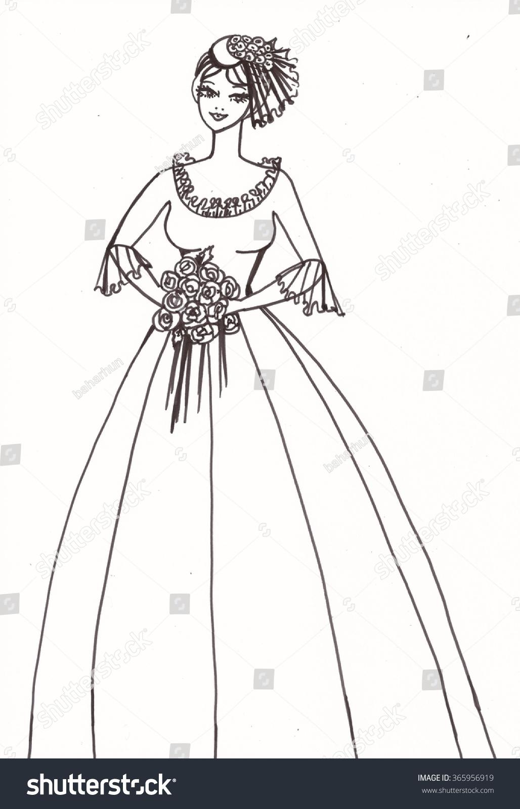 Pencil drawing wedding dress on beautiful bride model